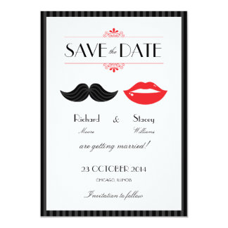 Lips and Mustache Wedding Save the Date 5x7 Paper Invitation Card