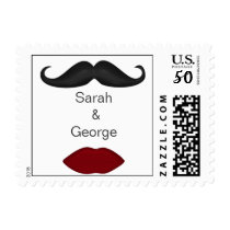 lips and mustache wedding stamps