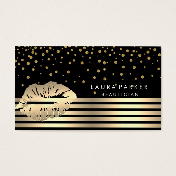 Lips Gold Black Stripes Makeup Artist Beautician Business Card