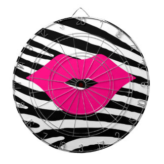 Lips kiss zebra fashion girly trendy glamour style dart board
