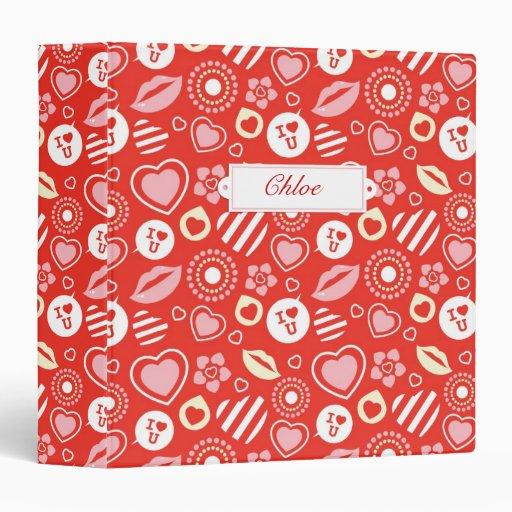 """Lips, Love & Hearts Valentine's Day 1.5"""" Binder"""