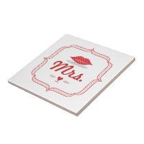 Lips Mrs. Hipster Vintage Retro Bride Ceramic Tile
