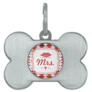 Lips Mrs. Hipster Vintage Retro Bride Pet ID Tag