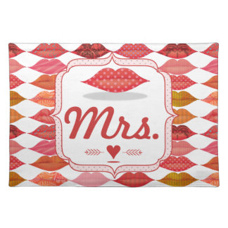 Lips Mrs. Hipster Vintage Retro Bride Placemat