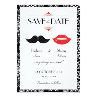 Lips Mustache Damask Wedding Save the Date 5x7 Paper Invitation Card