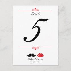 Lips & Mustache Damask Wedding Table Number postcard