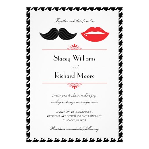 Lips & Mustache Houndstooth Wedding Invitation