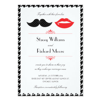 "Lips & Mustache Houndstooth Wedding Invitation 5"" X 7"" Invitation Card"