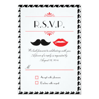 Lips & Mustache Houndstooth Wedding RSVP 3.5x5 Paper Invitation Card