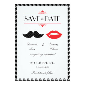 Lips Mustache Houndstooth Wedding Save the Date 5x7 Paper Invitation Card