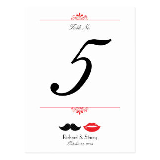 Lips & Mustache Houndstooth Wedding Table Number Postcard