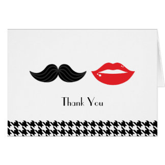 Lips & Mustache Houndstooth Wedding Thank You Card