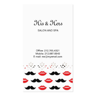 Lips & Mustaches Lace Border Business Card