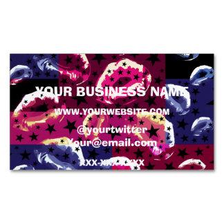 Lips POP Art Stars Business Card Magnet