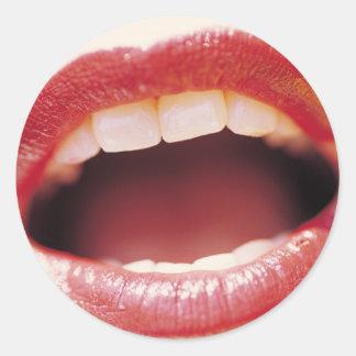 """Lips - Say """"Ah!"""" Round Sticker"""