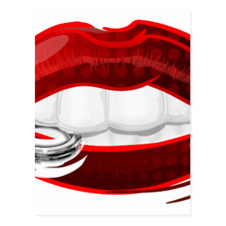 lips with ring postcard