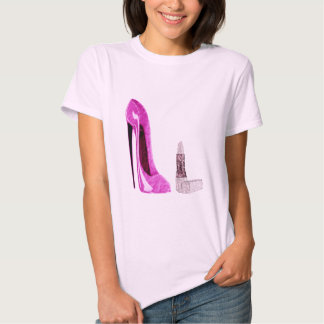 Lipstick and Pink Stiletto Shoe Art Tee Shirt