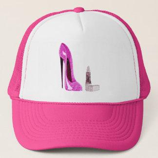 Lipstick and Pink Stiletto Shoe Art Trucker Hat