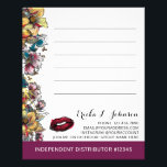 """Lipstick Distributor Floral Customer Note Card<br><div class=""""desc"""">Set your independent distributor business apart with gorgeous, dramatic floral flair! Ideal for lipstick and beauty branding and marketing. Totally chic, modern and oh-so-bold! • Customize it! Click the &quot;Customize&quot; button to change fonts, sizing and layout. You may move (or totally remove) the lipstick kiss if you wish. The lines...</div>"""