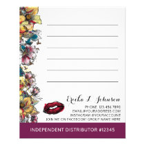 Lipstick Distributor Floral Customer Note Card