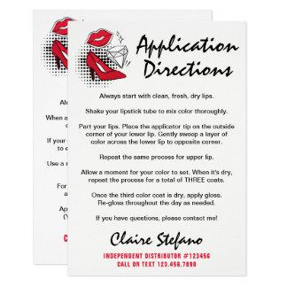 Lipstick Distributor How To Apply / Tips & Tricks Card