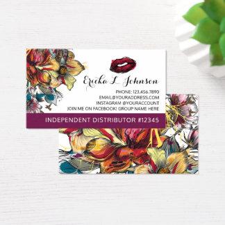Lipstick Distributor Modern Floral Kiss Plain Back Business Card