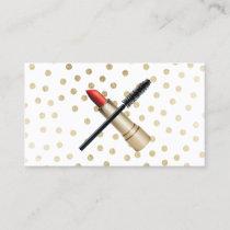 Lipstick & Eyelash Brush Modern Gold Makeup Artist Business Card
