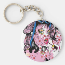 artsprojekt, drawing, teen, lipstick, woman, pink, beauty, young, modern, fashion, rose, girl, pop, makeup, romantic, femme, fantasy, portrait, female, illustration, glamorous, queen, cool, dreamer, Keychain with custom graphic design