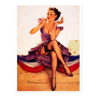 Lipstick Girl Pin Up Postcard