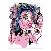 artsprojekt, drawing, teen, lipstick, woman, pink, beauty, young, modern, fashion, rose, girl, pop, makeup, romantic, femme, fantasy, portrait, female, illustration, glamorous, queen, cool, dreamer, Postcard with custom graphic design