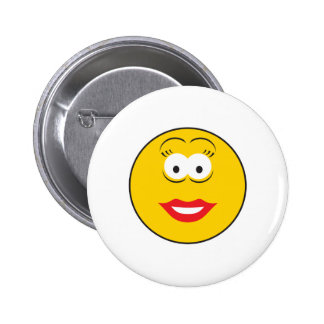 Lipstick Girl Smiley Face 2 Inch Round Button