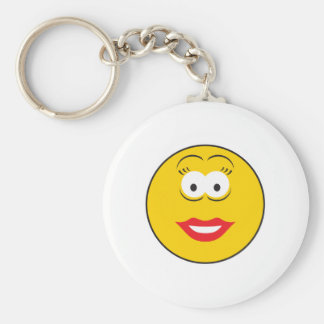 Lipstick Girl Smiley Face Basic Round Button Keychain