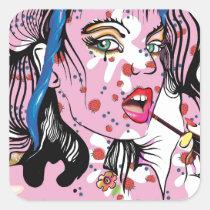 artsprojekt, drawing, teen, lipstick, woman, pink, beauty, young, modern, fashion, rose, girl, pop, makeup, romantic, femme, fantasy, portrait, female, illustration, glamorous, queen, cool, dreamer, Sticker with custom graphic design