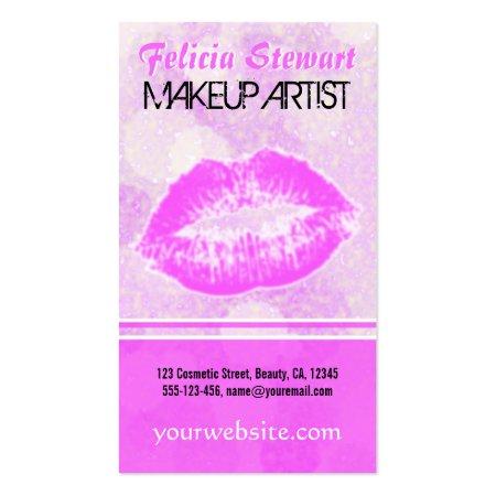 Kissable Pink Lips Lipstick Kiss Makeup Artist Business Cards