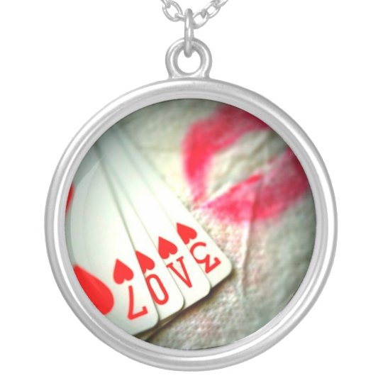 Lipstick Kisses, Love in Hearts Playing Cards Silver Plated Necklace