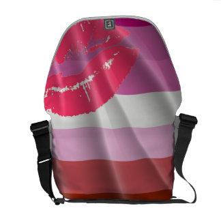 LIPSTICK LESBIAN PRIDE FLAG WAVY DESIGN COURIER BAG