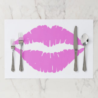 Lipstick Lips Hot Pink Paper Placemat