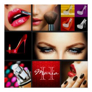 Lipstick Makeup Fashion Design Poster