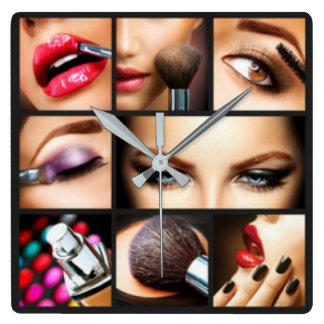 Lipstick Makeup Fashion Design Square Wall Clock