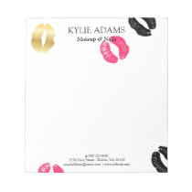 Lipstick Marks | Black & Pink Custom Name Notepad