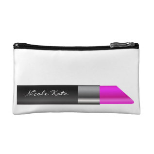 Lipstick Monogram Cosmetic Bag at Zazzle