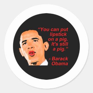 Lipstick Obama Comment Classic Round Sticker