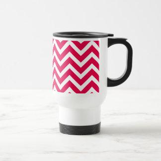 Lipstick Pink and White Chevron Zig Zag Mugs