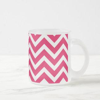 Lipstick Pink and White Chevron Zig Zag Coffee Mugs