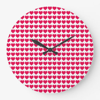 Lipstick Pink Candy Hearts on White Clock