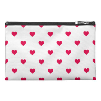 Lipstick Pink Candy Polkadot Hearts on White Travel Accessory Bag