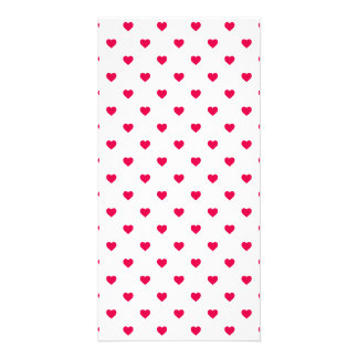 Lipstick Pink Candy Polkadot Hearts on White Picture Card
