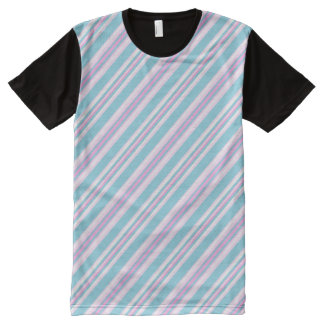 Lipstick Pink, Turquoise, White Deckchair Stripes All-Over Print T-shirt