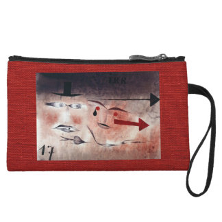 Lipstick Red Abstract Design 17 Wristlet