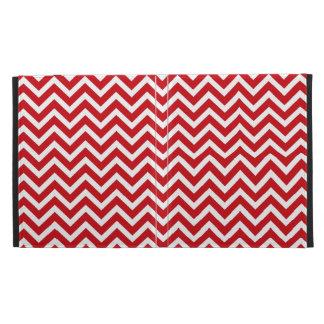 Lipstick Red and White Valentine ZigZag Chevron iPad Folio Cover